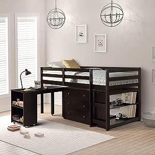 Harper&Bright Designs Low Study Twin Loft Bed with Cabinet and Rolling Portable Desk, Espresso