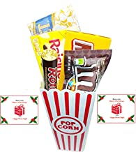 Have A Merry Christmas And A Happy Movie Night Gift Basket ~ Includes Butter Popcorn, Concession Stand Candy and a Gift Card for 2 Free Redbox Movie Rentals (Milk Duds)