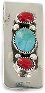 Handmade Certified Authentic Navajo Nickel and .925 Sterling Silver Coral Natural Turquoise Native American Money Clip