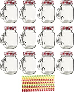 Juvale Mini Glass 4 Ounce Mason Jars with Lids and Straws (12 Pack), 3.5 x 3 x 2 Inches