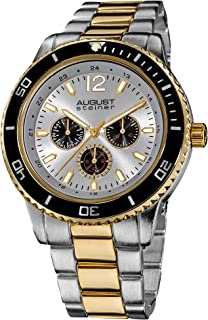 August Steiner Men's Large Face Tachymeter Fashion Watch - Dial with Day of Week, Date, and 24 Hour Subdial on Bracelet