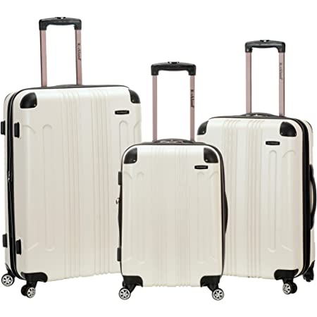 Rockland London Hardside Spinner Wheel Luggage, White, 3-Piece Set (20/24/28)