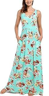 Women's Summer Sleeveless Floral Tank Maxi Dress Casual Long Dress Pocket