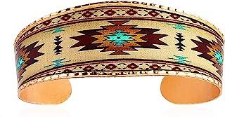سوار يد نحاسي من Artisan للجنسين، تصميم شروق الشمس الجنوب الغربي - أساور أمريكية أصلية للرجال والنساء عريضة الأكمام قابلة ...