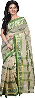 Raj Sarees Women's Cotton Traditional Bengali Handloom Tant Saree Without Blouse Piece (Off White)