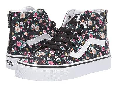 Vans Kids Sk8-Hi Zip (Little Kid/Big Kid) ((Butterfly Floral) Black/Black) Girls Shoes