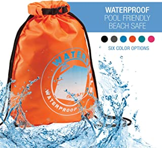 WaterSeals Cinch Drawstring Backpack for Women & Men with Ripstop Waterproof Material to Protect Wallet, iPhone at Beach, Pool + Camping, Orange