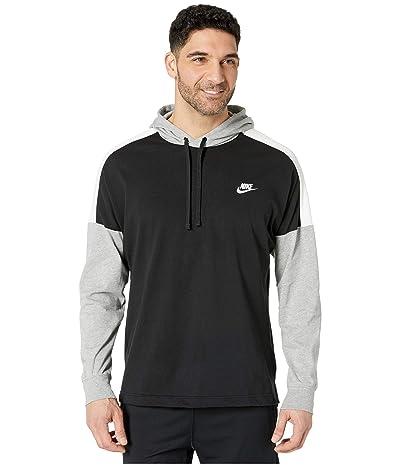 Nike NSW Hoodie Pullover Jersey Color Block (Black/Dark Grey Heather/Sail/White) Men