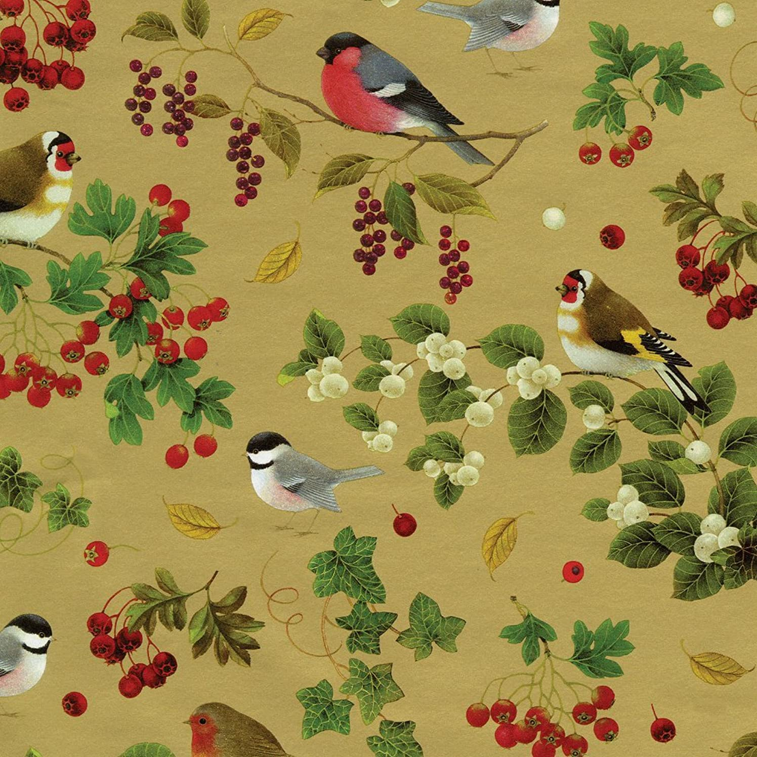 Caspari - Christmas Gift Holiday Wrapping Paper, Winter Birds Gold, 8-Feet, 1-Roll,Multi
