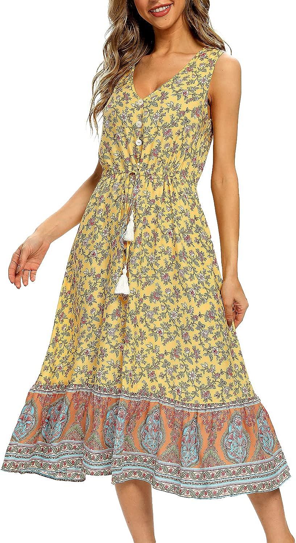 BROVAVE Women Summer Bohemian Floral Print V Neck Sleeveless Sundress Flowy Casual Midi Dress