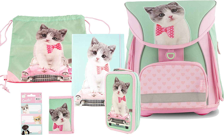 Studio Pets Ergo Schulranzen Ergonomic Backpack - SET 6-tlg FIDLOCK Kitty Cute 42 cm 18SP-901-KC-F-6