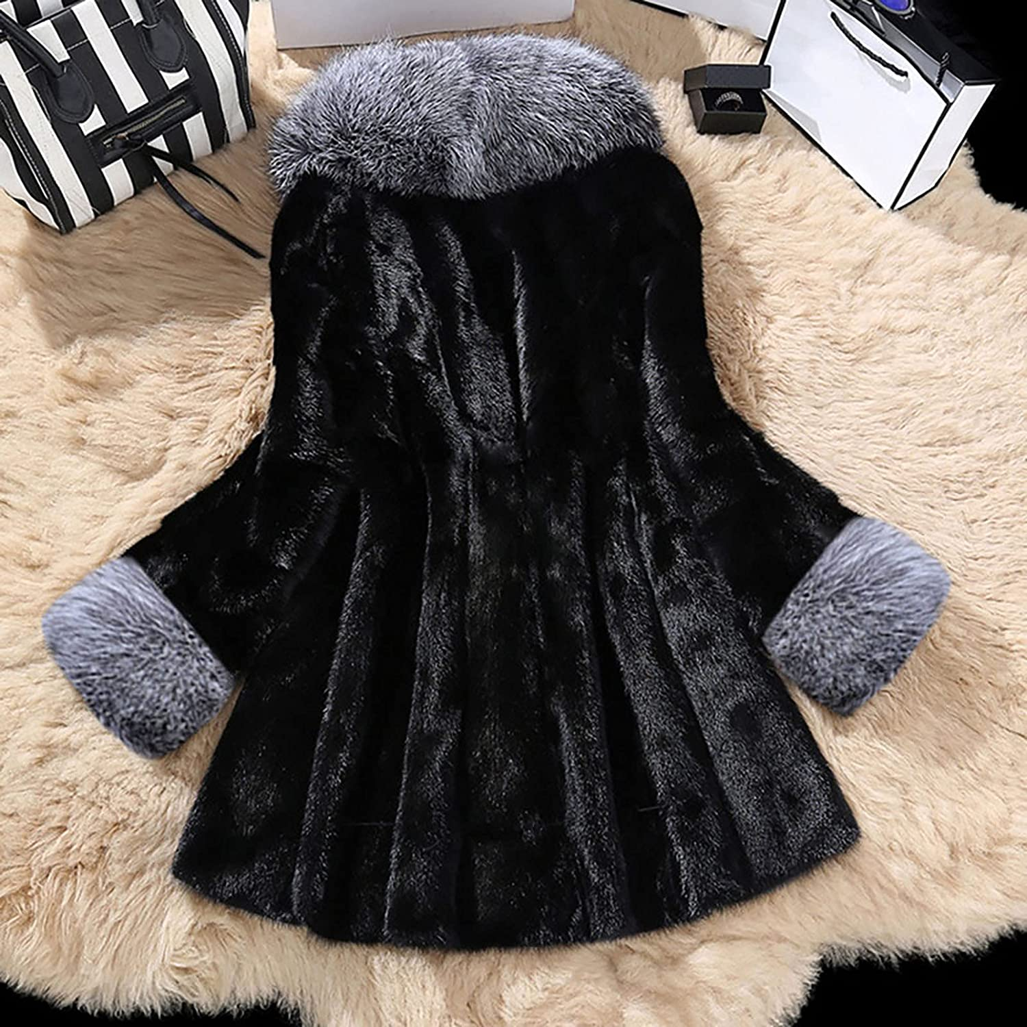 Women's Winter Faux Fur Coat Hooded Warm Overcoat Plush Thick Jackets with Pockets
