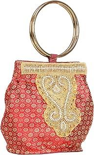 Fantastic Indian Women's Embroidery Double Handle Potli Bag