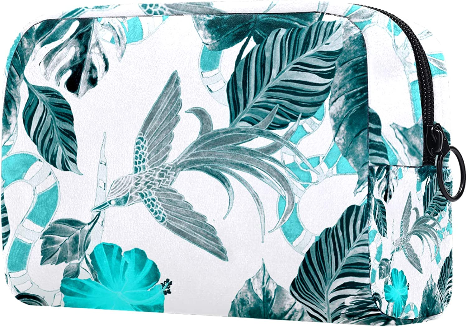 Makeup Max 40% OFF Bag Portable Travel Los Angeles Mall Turquoise Leaves Tropical Bird Green