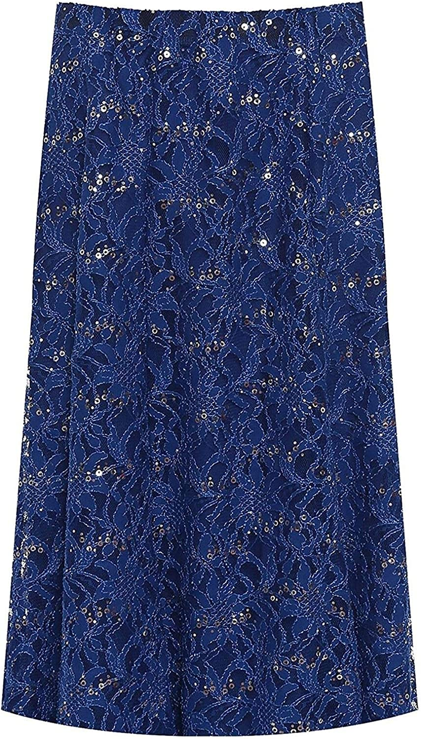 Style wise Fashion Womens Sequin Floral Lace Lined Midi Skirt Ladies Elasticated Fancy Party Skirt
