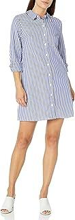 MSK Women's Petite Long Sleeves Button Front Stripe Dress