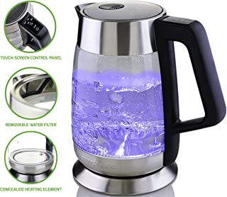 Ovente Electric Kettle, 1.8L BPA-free, Illuminated Temperature Control, 5 Heat Settings, Keep Warm Function, 1100W, Silver