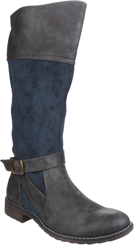 Divaz Womens Ladies Garbo Zip Up Contrast Knee High Boots