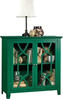 Sauder Shoal Creek Display Cabinet, Green Pantone finish