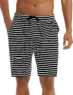 Irevial Pantalones Cortos de Pijama para Hombre Algodon, Raya Cintura elástica Ajustable pantalón Dormir de casa,Salón Sho...