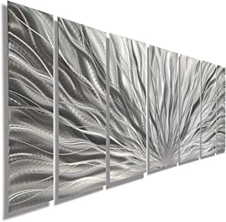 "Statements2000 Abstract Large 3D Metal Art Panels Wall Hanging Indoor/Outdoor Sculpture by Jon Allen, Silver, 68"" x 24"" - Silver Plumage"