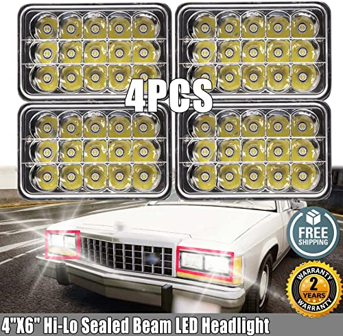 """2021 4""""X6"""" LED Sealed Beam Headlights for Ford LTD Crown popular Victoria 1989 1991 High 2021 Low Rectangular Headlamp H4651 H4652 H4656 H4666 H6545 Upgrade Replacement Easy Installation, Pack of 4, 2 Years Warranty sale"""