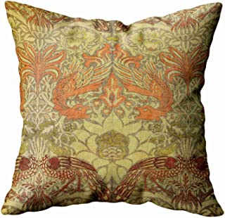 Musesh Floral Pillow Cover,Holiday Throw Pillow Case, 18x18 William Morris Peacock and Dragon Pattern for Sofa Home Decorative Pillowcase Pillow Covers