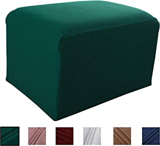Argstar Knit Ottoman Protector for Sofa Sets, Thickened Elastic Slipcover for Ottoman, Green