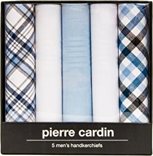 Designer Fashion Handkerchiefs for Men-5 Pack Gift Sets in Solid Colors and Patterns, 100% Pure Cotton