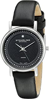 Stuhrling Original Lady Casatorra Women'S Black Dial Leather Band Watch - 734L.02, Black/Silver,
