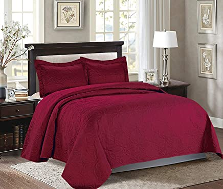 featured product Majiija Oversized 3 Piece Embossed Quilted Bedspread Coverlet Set 106x118 King,  Burgundy