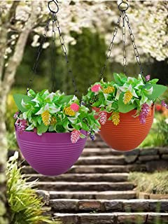 Planters Hub Plastic Hanging Plastic Flower Pots with Metal Hanging Chain for Indoor Outdoor Balcony Plants Garden Decor (...