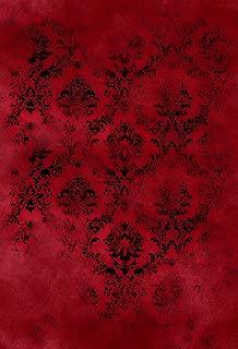 MUZI Photography Background Damask Cloth Backdrop Red and Black Customizable Photo Studio Props 5x7ft XT-6764