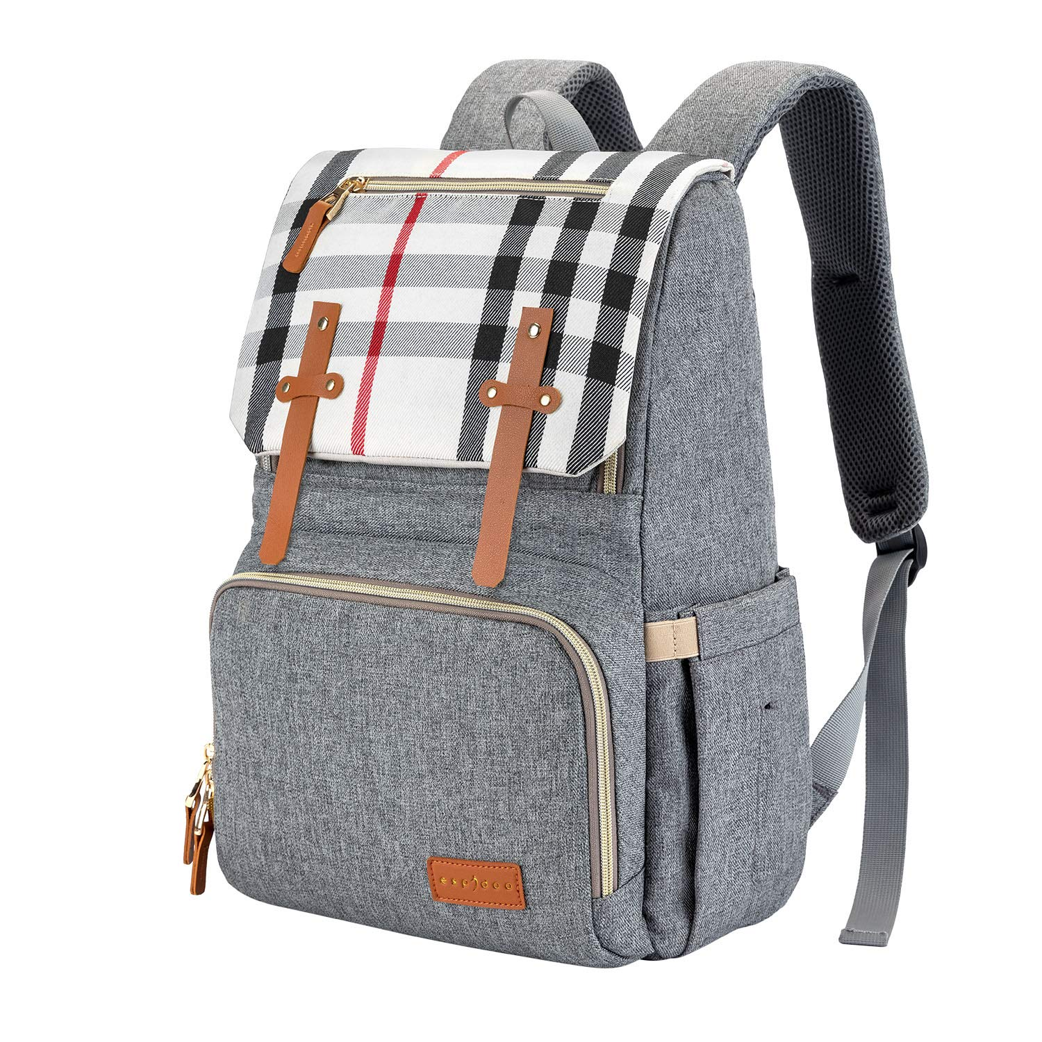 ESPIDOO Baby Diaper Bag backpack, Large Capacity Multi-Function Waterproof Maternity Nappy Bags Changing Bags with Insulated Pockets and Stroller Straper for Mom Dad travel Gear, Light Grey with Plaid
