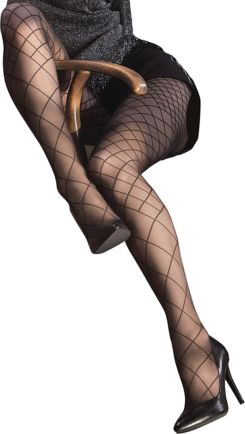 Gatta FUNNY 04 Womens Sheer Black Fishnet Look Printed Tights [Made in Europe]
