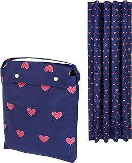Amazon Basics Rideau opaque de voyage à ventouses pour enfant - cœurs roses