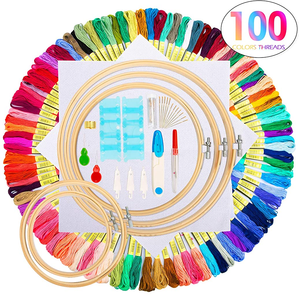 Embroidery Starter Kit,100 Color Threads,5 PCS Bamboo Embroidery Hoops,2 PCS 11.8 inches Aida Cloth,and Cross Stitch Embroidery Needle Point kit Supplies