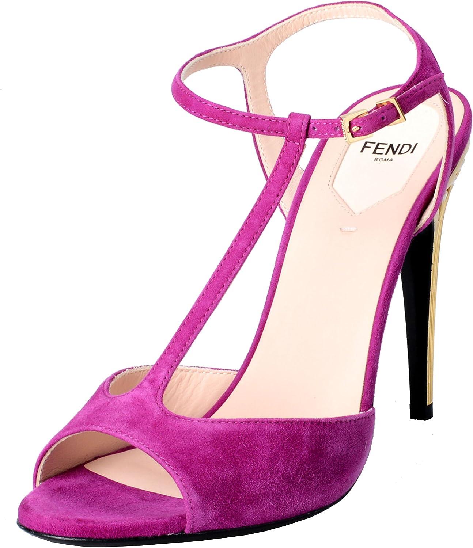 Fendi Fendi Fendi Woherrar mocka Fuchsia Open Toe T -Strap High klackar Sandaler skor  generell hög kvalitet