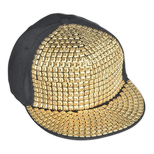 Adult Hip Hop Party Bling Hat Black and Gold Diamonte Cap Novelty Fancy  Dress Accessory 9189b2571189