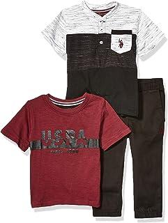 Boys' Short Sleeve, Henley T-Shirt, and Twill Jogger Pant