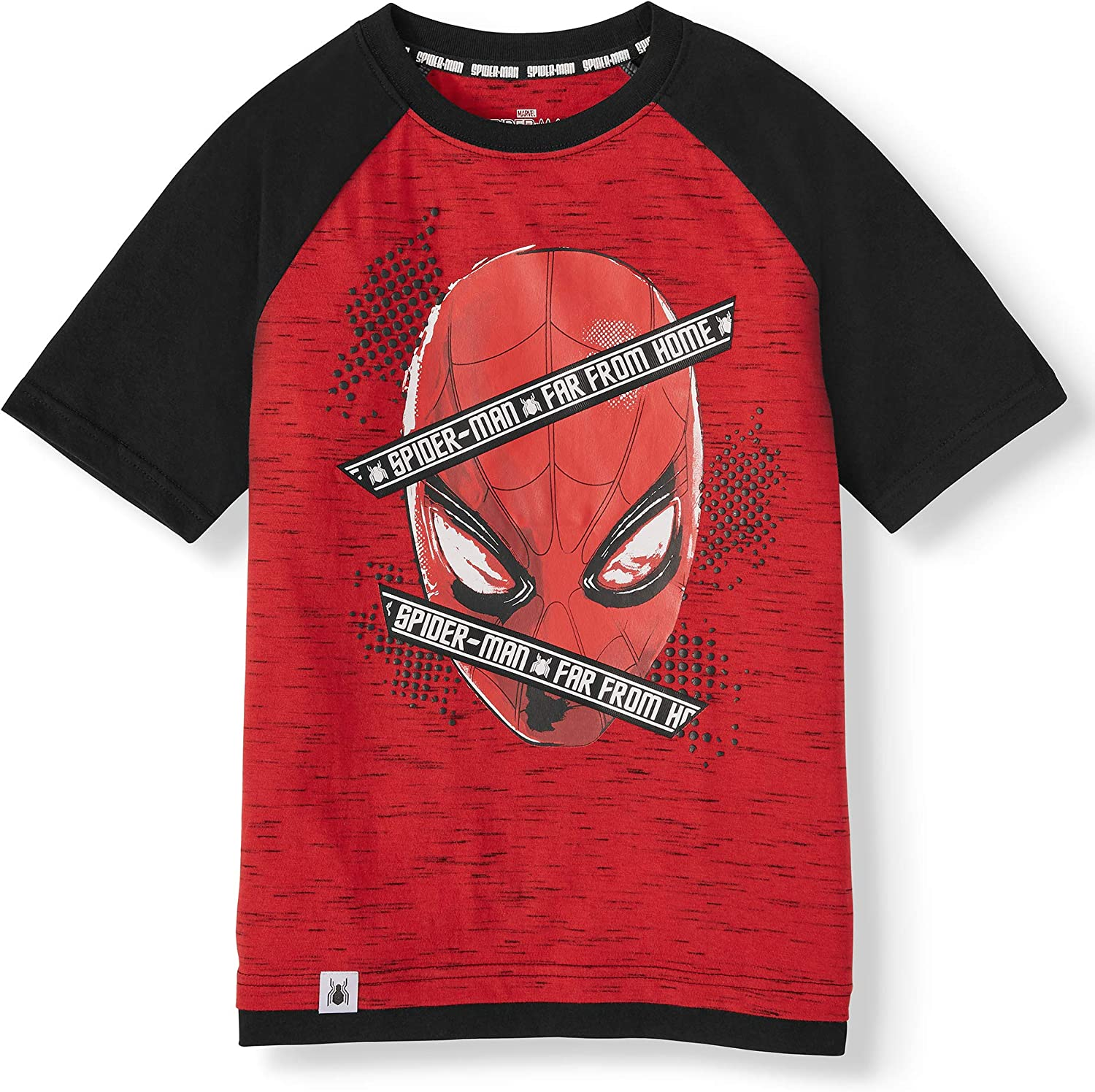 Marvel Spider-Man Boys Short Sleeve Graphic Two-Tone T-Shirt - Far from Home Red/Black