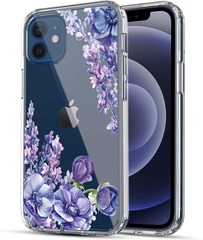 iPhone 12 Mini 5G Case, RANZ Anti-Scratch Shockproof Series Clear Hard PC+ TPU Bumper Protective Cover Case for iPhone 12 Mini (5.4 inch) - Lavender