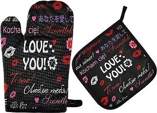 GOSMAO Gants de Four,Gants de Barbecue Résistant à Chaleur 2 Paire et 1 Maniques, Rouge À Lèvres Valentine Love You Red,An...