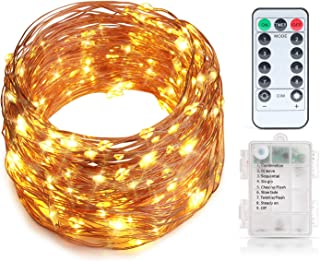 Craftersmark String Lights Battery Operated 33FT 100 LEDs Timer Waterproof Copper Wire Twinkle Fairy Lights for Thanksgiving Christmas Wedding Party Bedroom Decoration (Remote Control Included)