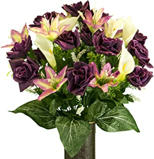 Sympathy Silks Artificial Cemetery Flowers - Realistic - Outdoor Grave Decorations - Non-Bleed Colors, and Easy Fit - Purple Rose with Cream Tiger Lily- with Flower Holder