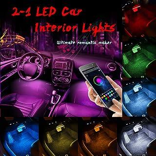 Interior Car LED Strip Lights,4pcs 48 LED Bluetooth App Controller Interior Lights Multi Color Music Car Strip Light Under Dash Lighting Kit with Sound Active & Upgraded Wireless Remote Control