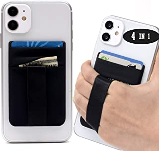 Polifall 4 in 1 Cell Phone Stick On Wallet Card Holder Sleeve - Double Pocket + Finger Grip Strap Loop + Metal Plate for M...