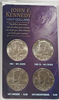 John F. Kennedy Half Dollars Set of 4 coins Various Mint Marks Uncirculated