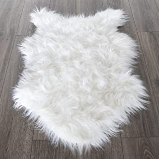 Silk Road Concepts SR-FFL-2X3 High Pile Fluffy Sheepskin Rug, 2' x 3', White