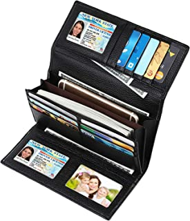 RFID Blocking Large Capacity Luxury Leather Clutch Wallets Credit Card Holder for Women